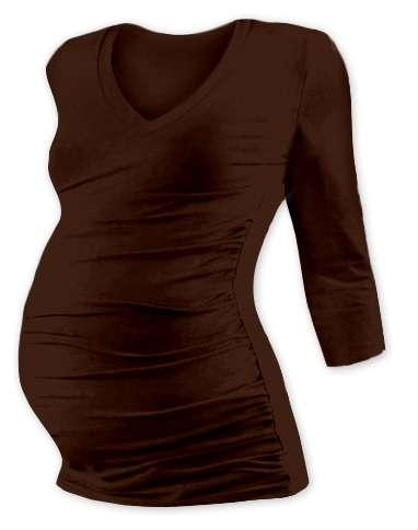 Maternity T-shirt Vanda, 3/4 sleeves, CHOCOLATE BROWN