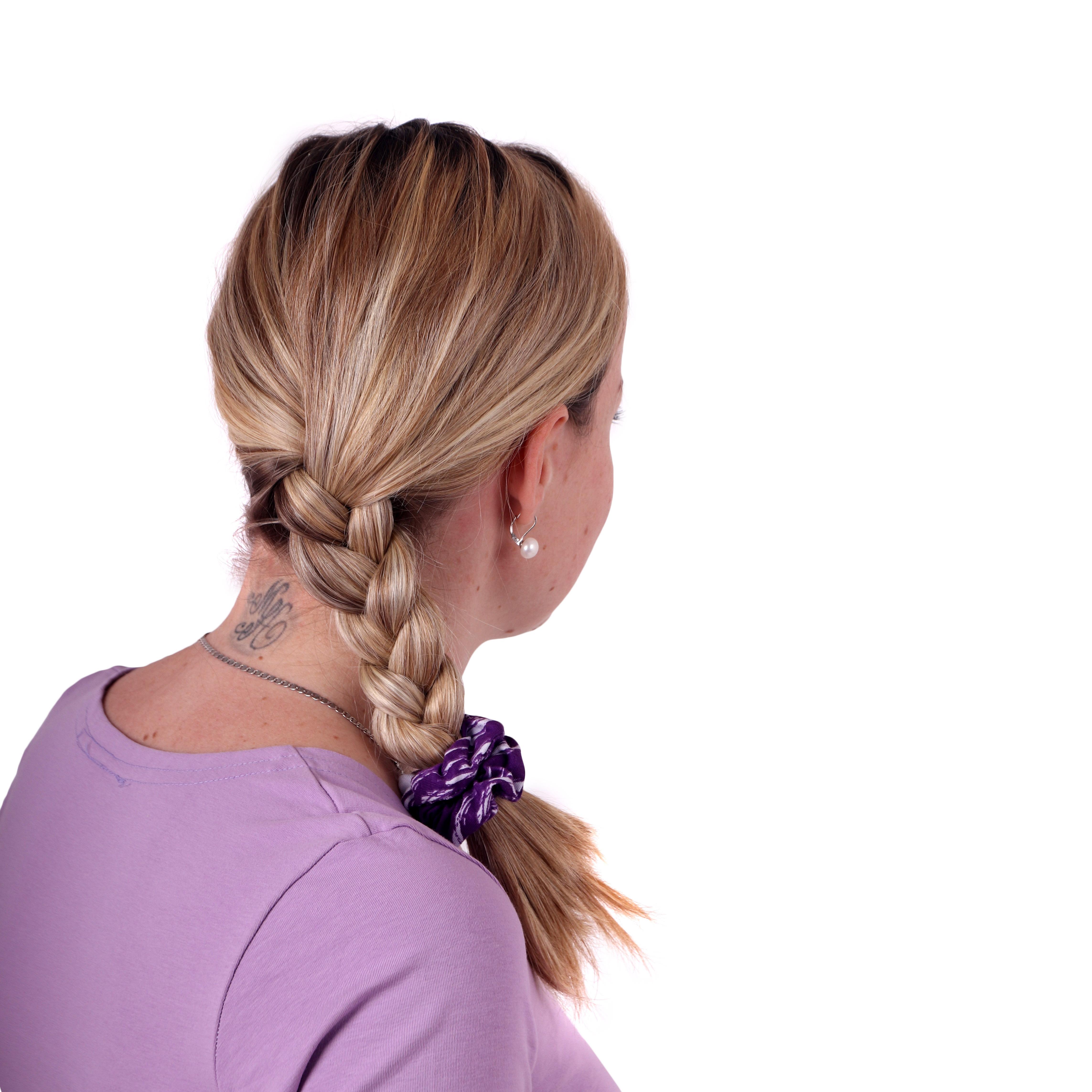 Látková gumička do vlasů, malá, vzorovaná fialová