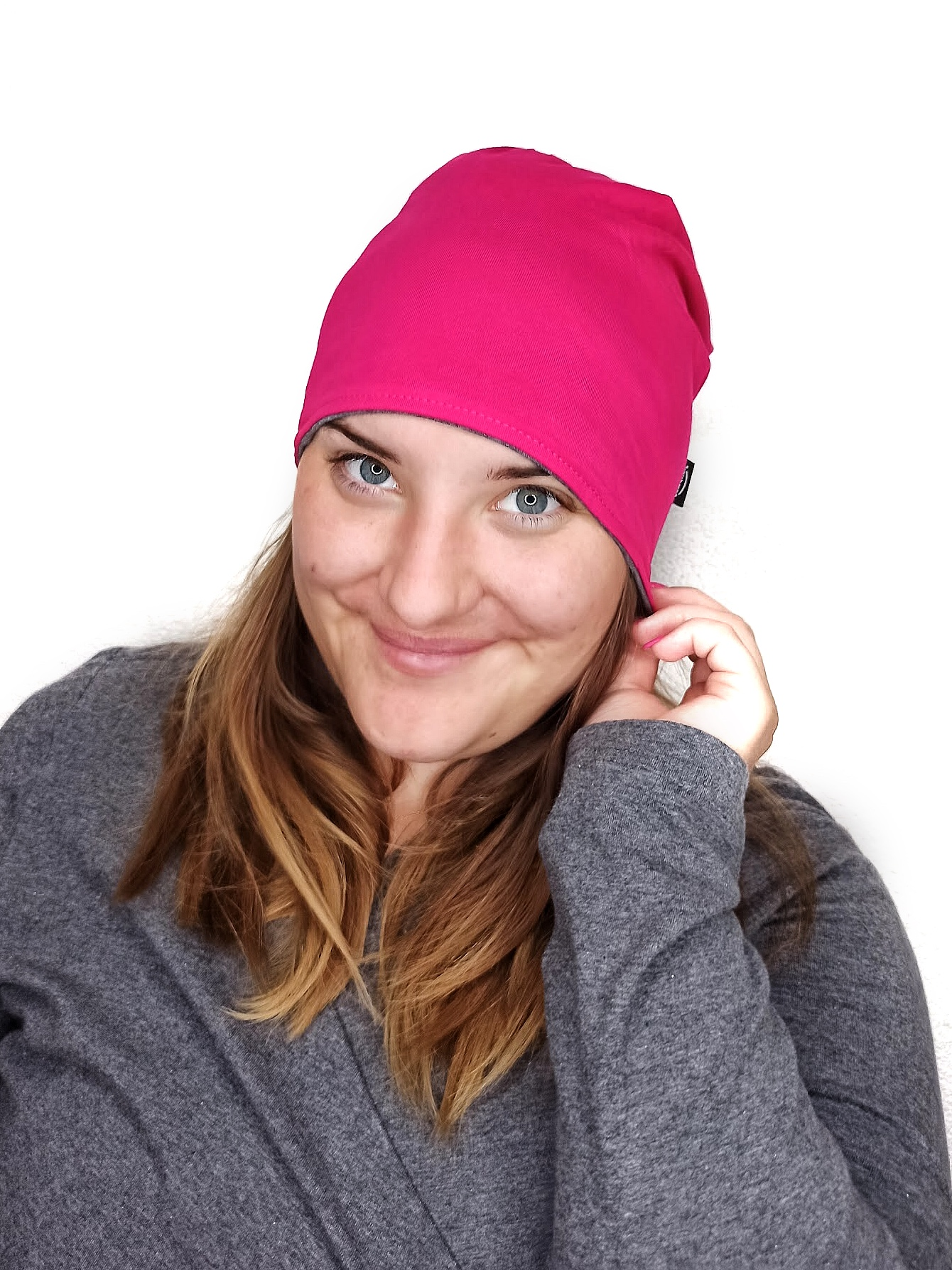 Dámská čepice bavlněná, oboustranná, tmavě šedý melír+sytě růžová