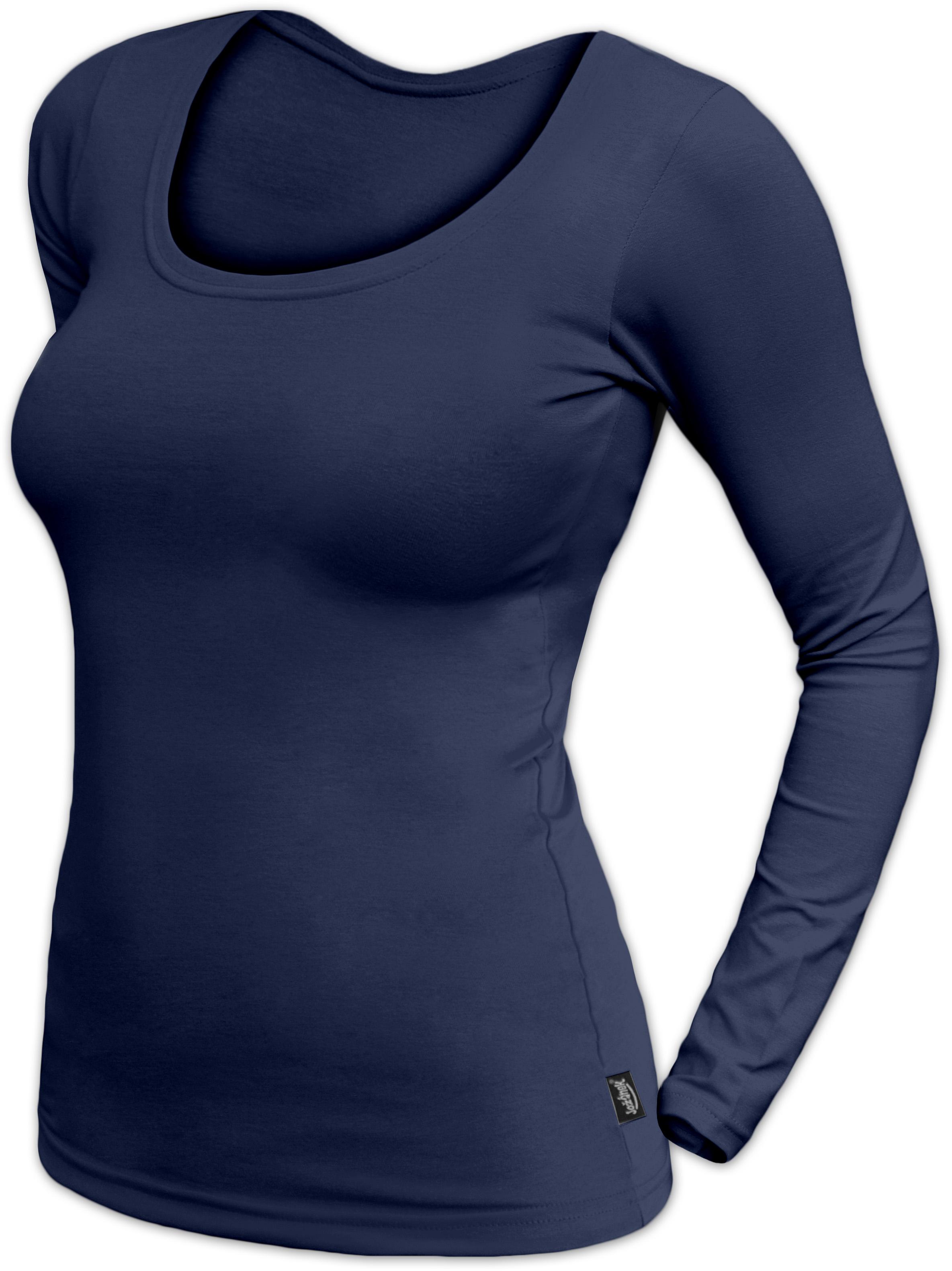 Dámské tričko Brigita, dlouhý rukáv, tmavě modrá