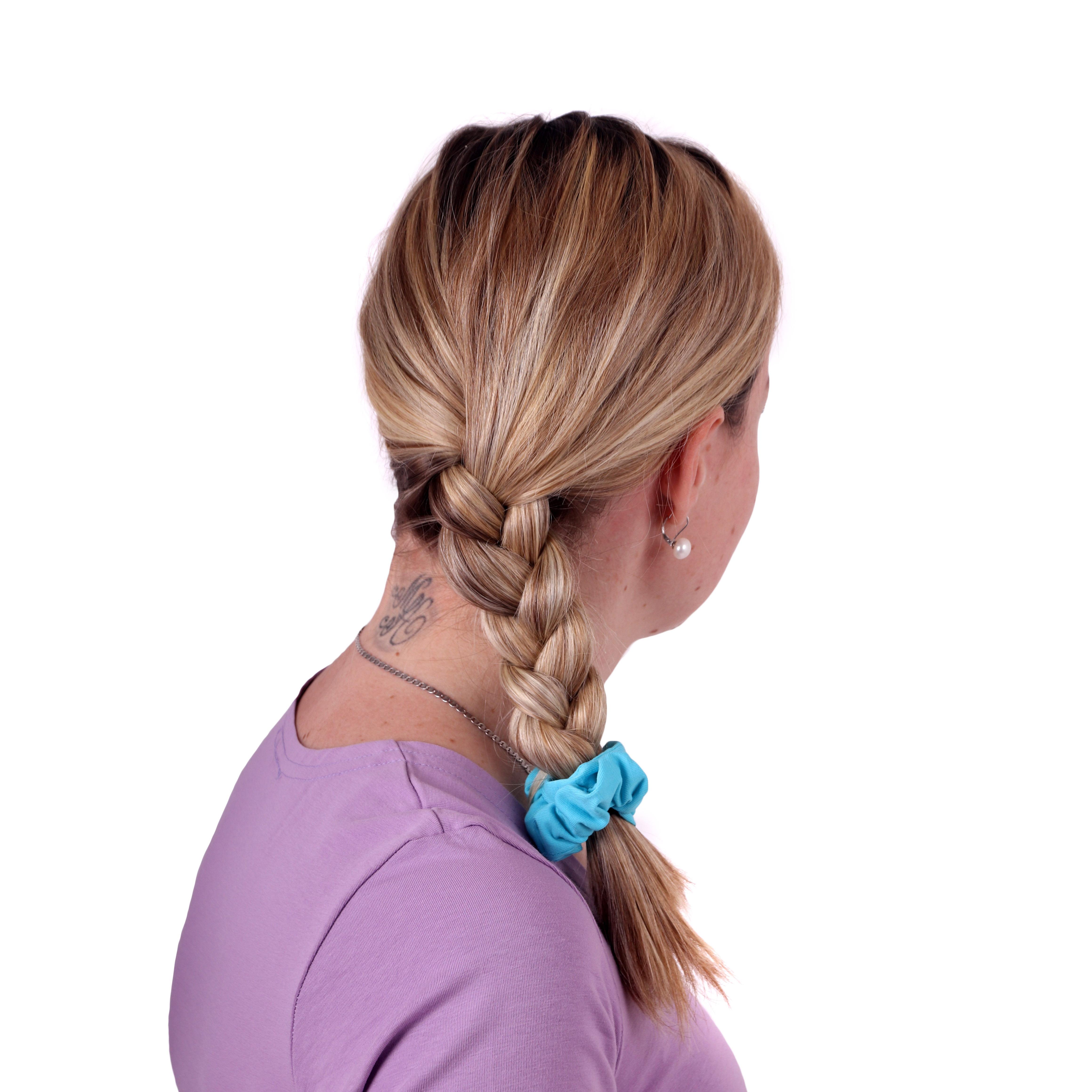 Látková gumička do vlasů, malá, tyrkysová