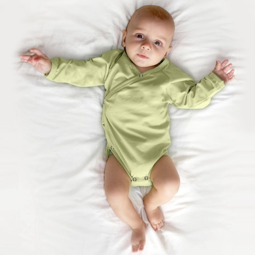 Infant wrapover onesie, light green