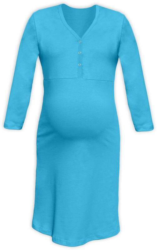 CECILIE- Nachthemd für schwangere und stillende Frauen, türkis, 3/4 Ärmel