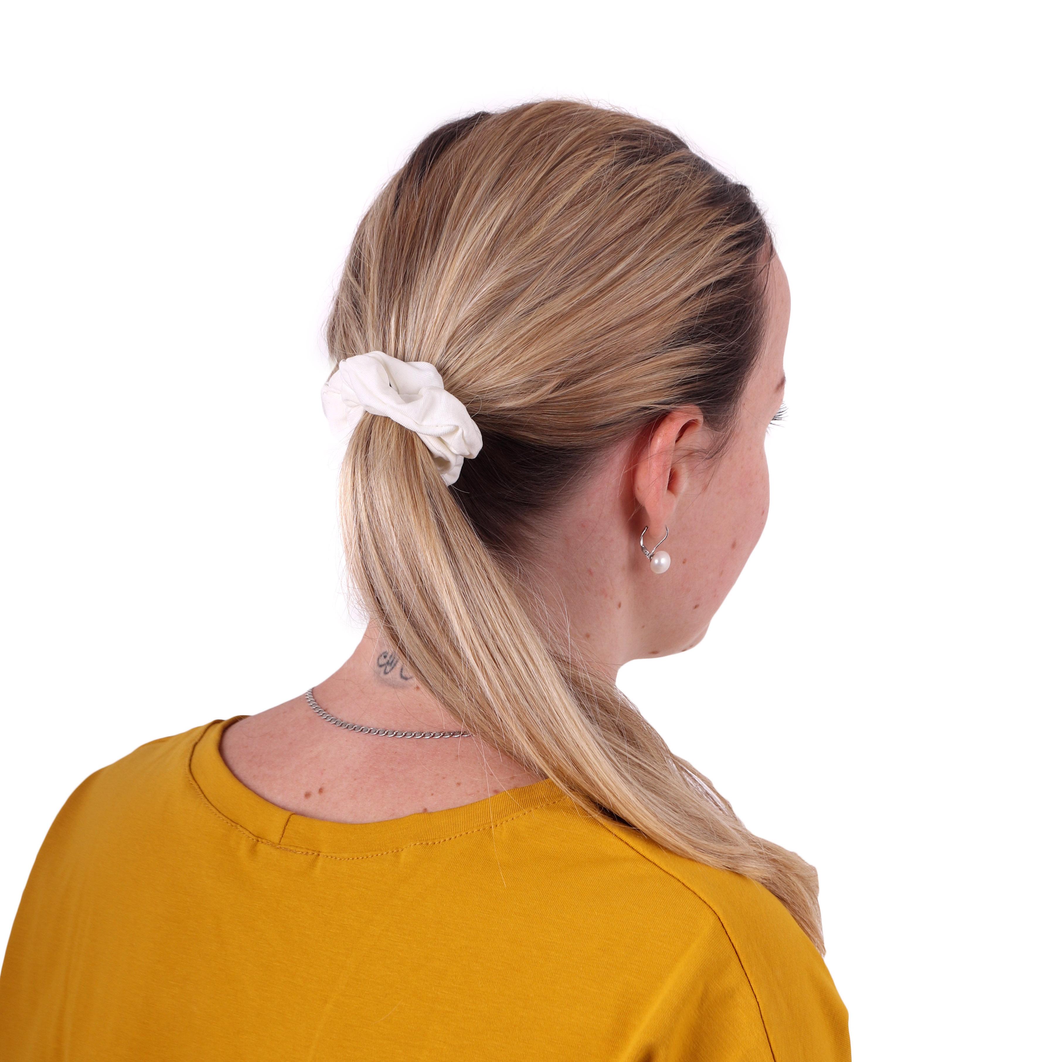 Látková gumička do vlasů, malá, smetanová