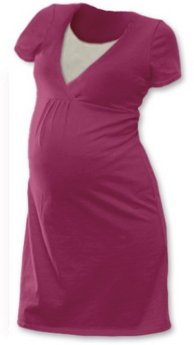 Kojicí noční košile Lucie, krátký rukáv, cyklámen (vínově růžová)