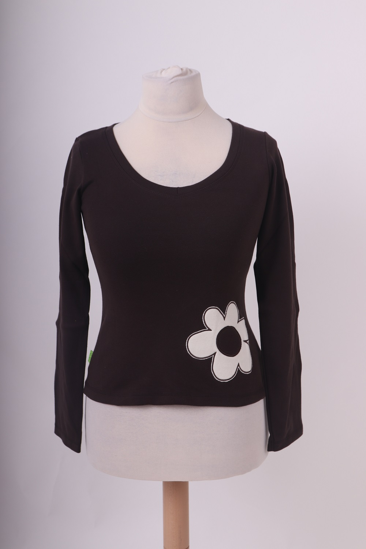 Bio-dámské tričko, dl. rukáv, hnědé-kytka, xs
