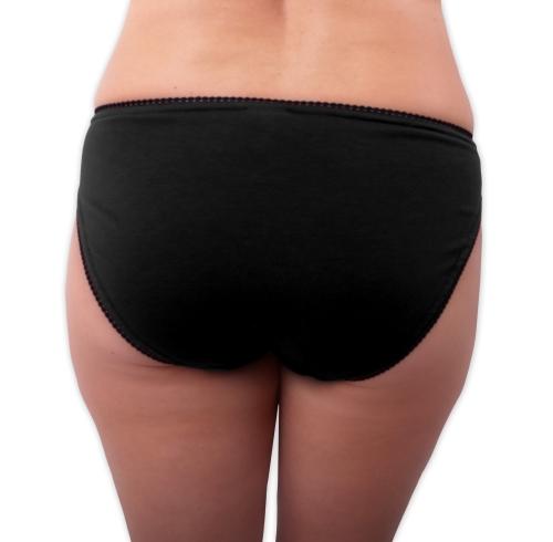 Dámské kalhotky bavlněné, klasický střih, černé