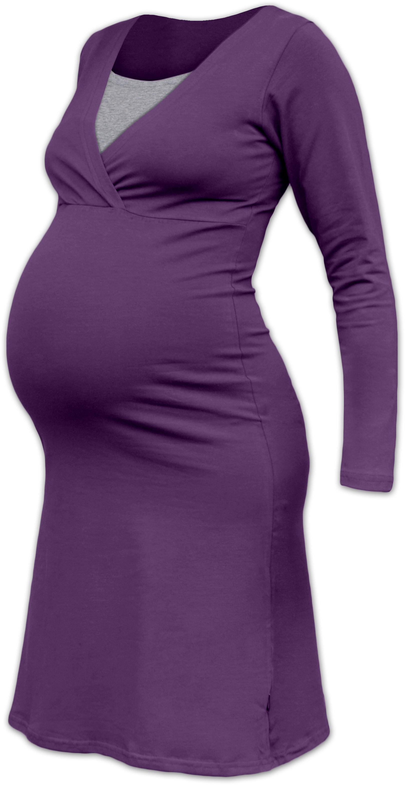 Kojící noční košile Eva, dlouhý rukáv, švestkově fialová