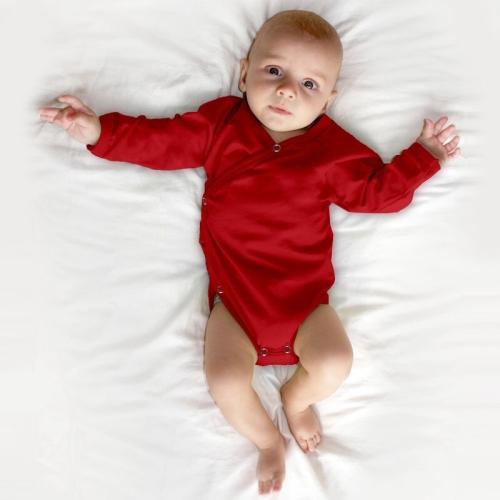Infant wrapover onesie, red