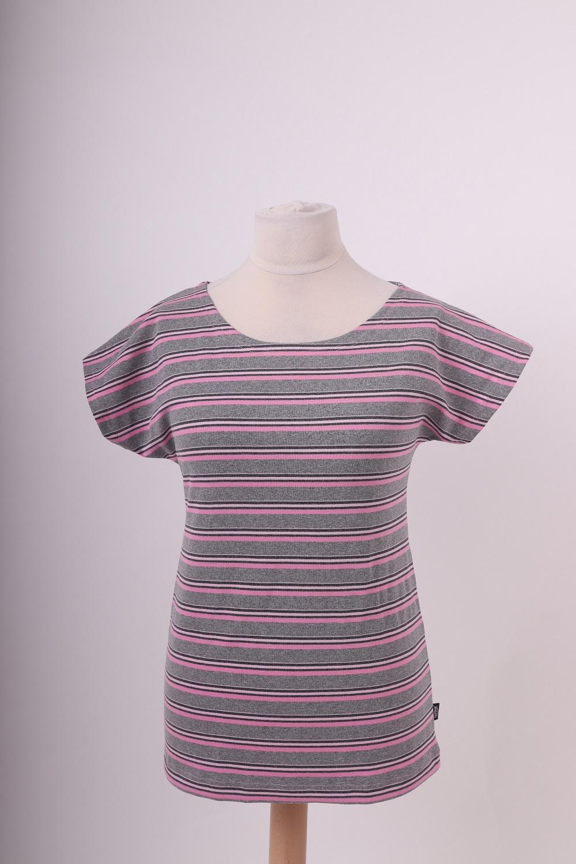 Dámské tričko petra, šedivo-oranžové pruhy, l/xl