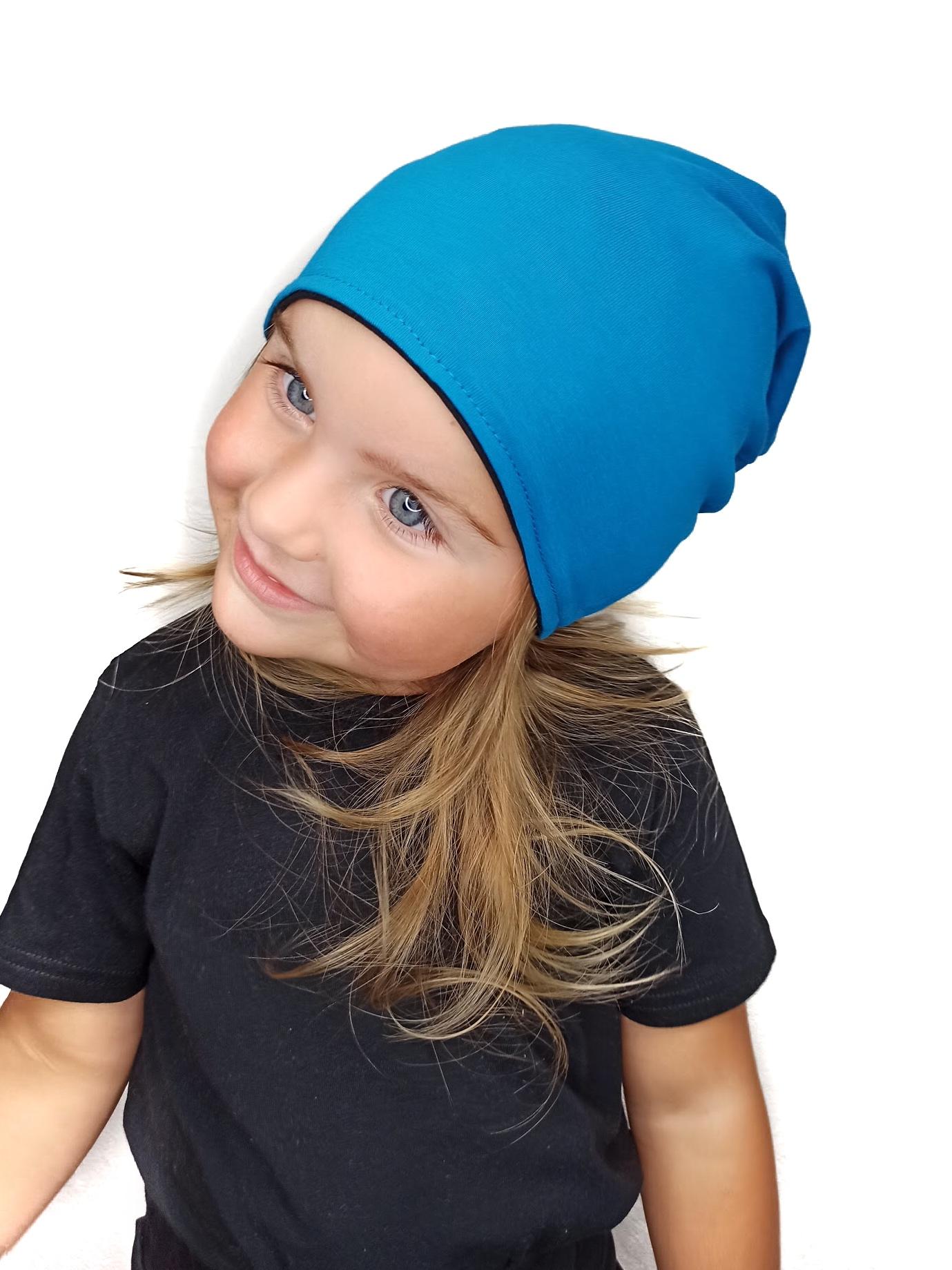 Dětská čepice bavlněná, oboustranná, černá+tmavý tyrkys, s