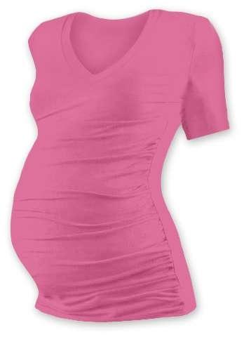 Tehotenské tričko Vanda, krátky rukáv, ružové
