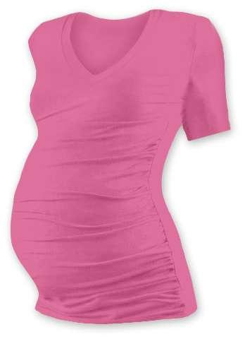 Těhotenské tričko Vanda, krátký rukáv, růžové
