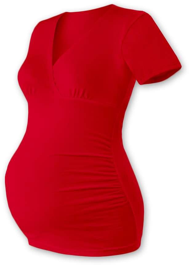 Těhotenská tunika Barbora, krátký rukáv, červená