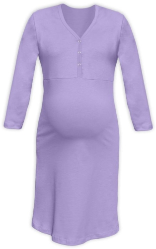 Maternity and breastfeeding nightdress with snap-button neckline Cecilie, LAVENDER
