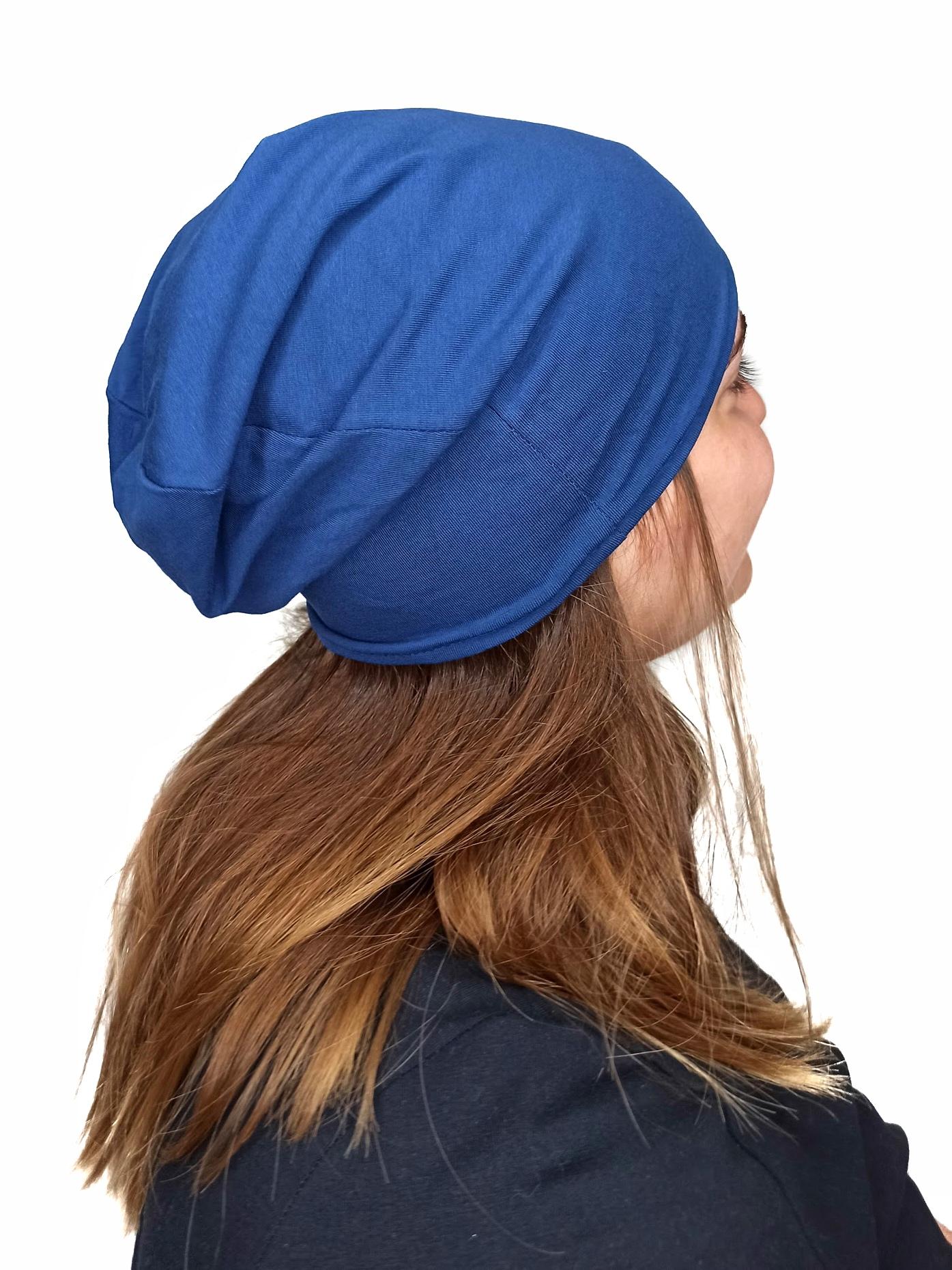 Dámská čepice bavlněná, oboustranná, tmavě šedý melír+jeans modrá