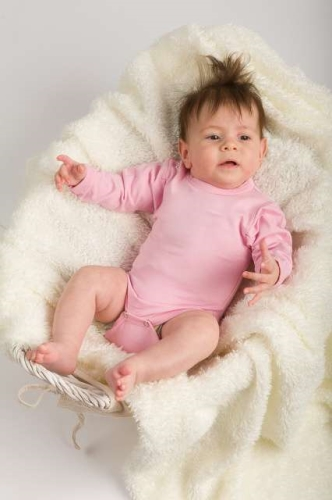 Baby cotton onesies with long sleeves, light pink
