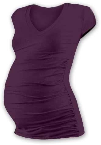 Těhotenské tričko Vanda, mini rukáv, švestkově fialové