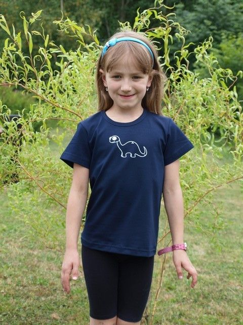 dětské tričko s KR, tm. modré, BRONTOSAURUS