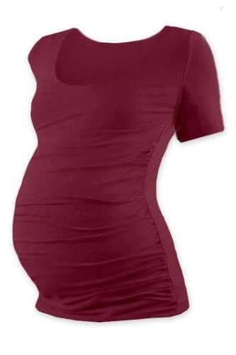 Tehotenské tričko Johanka, krátky rukáv, bordo