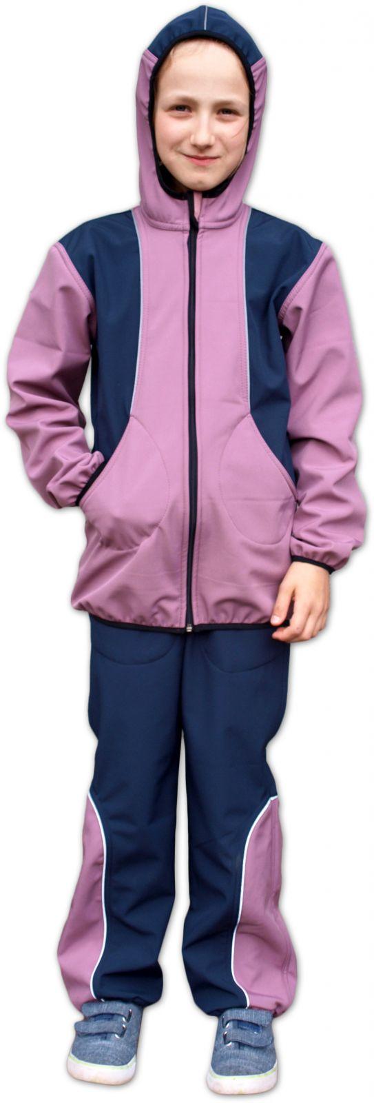 Dětská softshellová bunda, růžová+tmavě modrá, 98/104