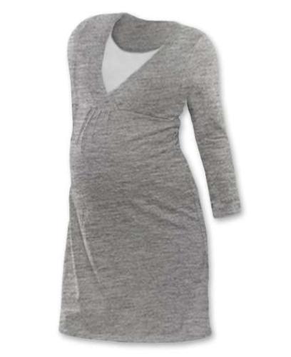 Dojčiace nočná košeľa Lucie, dlhý rukáv, sivý melír