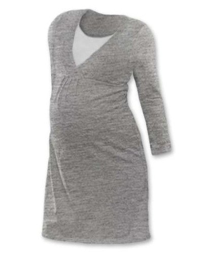 Kojicí noční košile Lucie, dlouhý rukáv, šedý melír