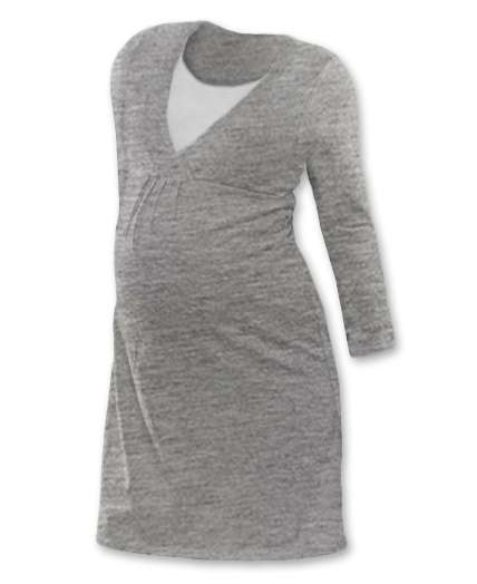 Kojicí noční košile lucie, dlouhý rukáv, šedý melír m/l
