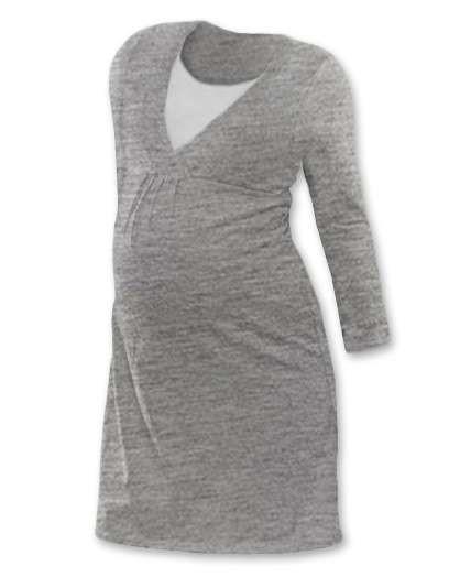 LUCIE- Umstands- und Stillnachthemd, lange Ärmel, grau meliert