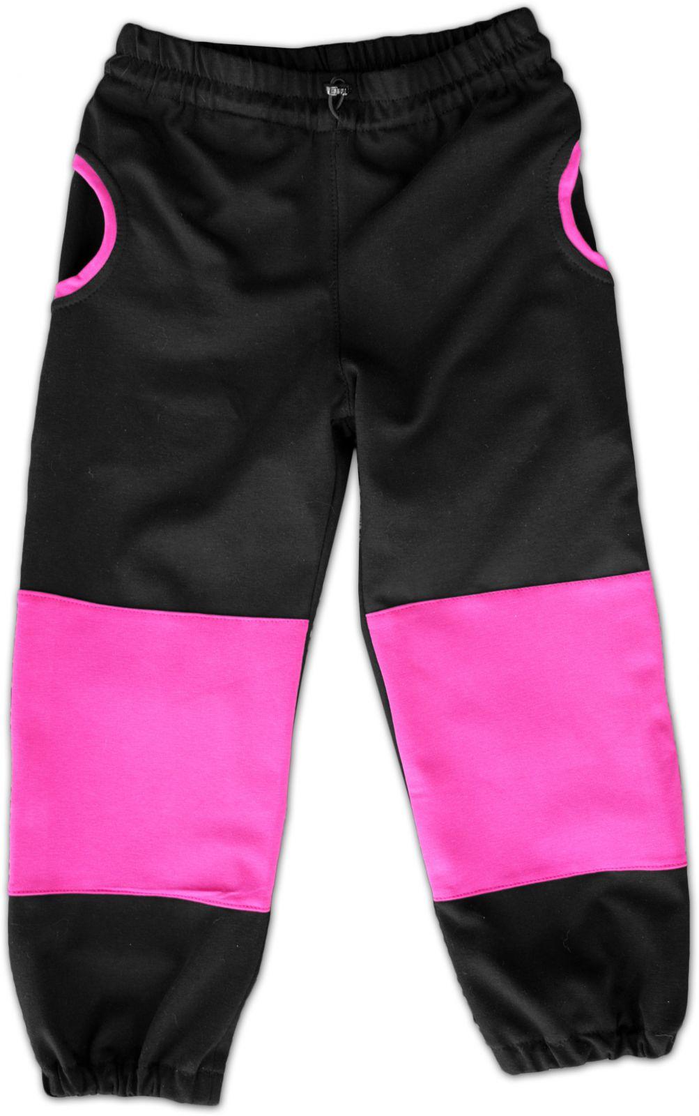 Dětské tepláky s kapsami, bavlněné, černá/růžová, velikost 128
