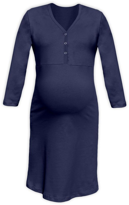Maternity and breastfeeding nightdress with snap-button neckline Cecilie, DARK BLUE