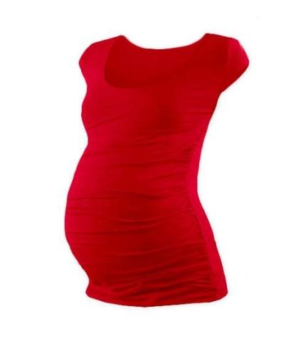 Těhotenské tričko Johanka, mini rukáv, červené