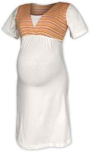 Pruhovaná tehotenská / kojace nočná košeľa, SMETANOVÁ + oranžový prúžok