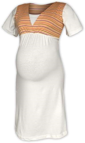 Striped maternity and breast-feeding nidhtdress