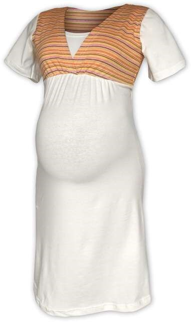 OLGA- Umstands- und Stillnachthemd, kurze Ärmel, Sahnefarbe/orange