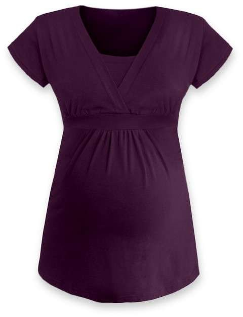 Těhotenská a kojicí tunika Anička, krátký rukáv, švestkově fialová