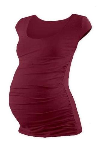 Tehotenské tričko Johanka, mini rukáv, vínovej