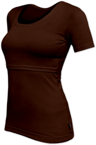 Breast-feeding T-shirt Katerina, short sleeves, CHOCOLATE BROWN