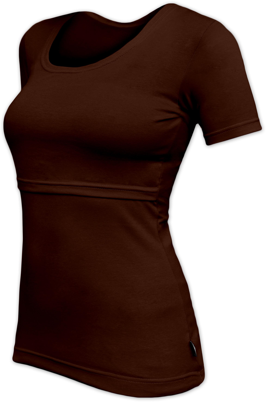 KATERINA- breast-feeding T-shirt, short sleeves, CHOCOLATE BROWN
