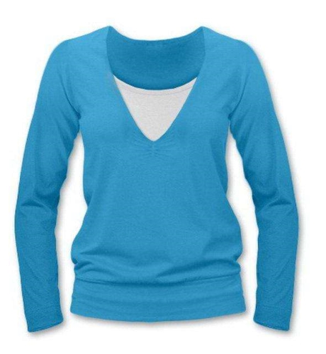 Breast-feeding T-shirt Karla, long sleeves,TURQUOISE