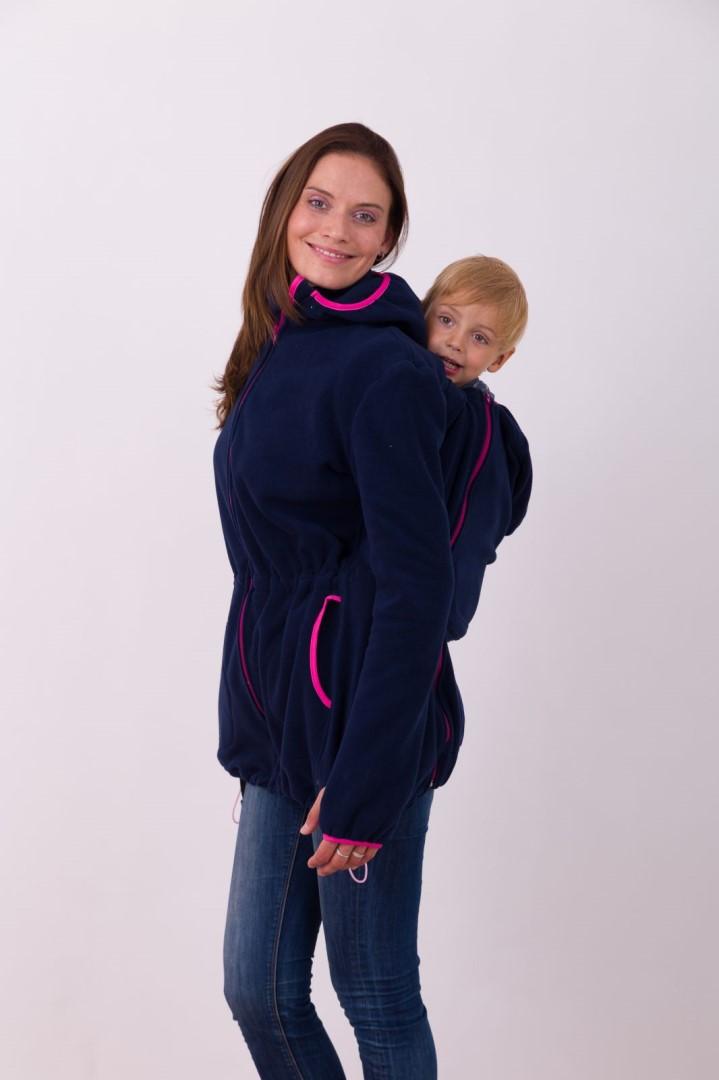 NELA- nosící fleece mikina s kapucí ( přední/zadní nošení ), tm. modrá s růž. doplňky