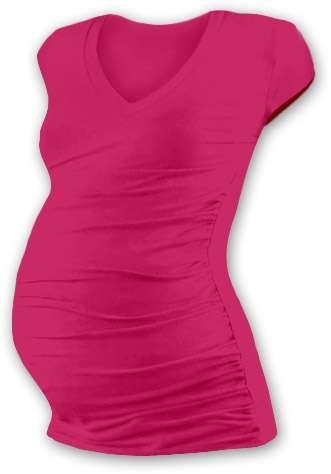 Těhotenské tričko Vanda, mini rukáv, sytě růžové