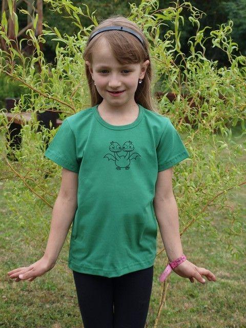 dětské tričko s KR, tm. zelené, DRAK