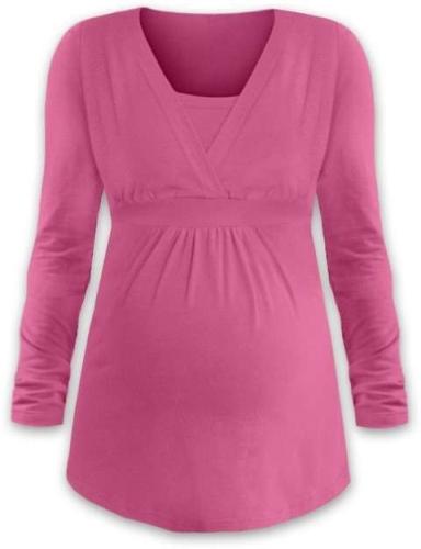 Tehotenská a dojčiace tunika Anička, dlhý rukáv, ružová