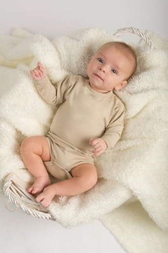 Baby cotton onesies with long sleeves, caffe latte
