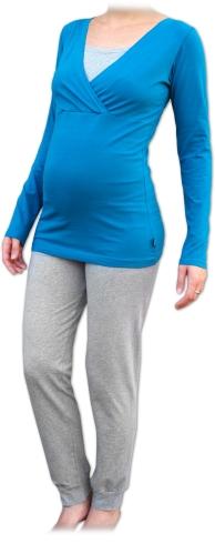 Těhotenské a kojicí pyžamo, dlouhé, petrolejové+šedý melír