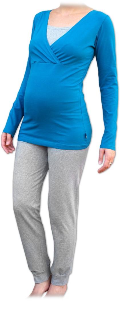 Těhotenské s kojicí pyžamo, dlouhé, petrolejové+šedý melír
