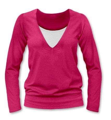 Kojící tričko KARLA, dlouhý rukáv, sytě růžová