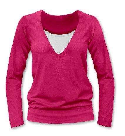 Kojící tričko karla, dlouhý rukáv, sytě růžová l/xl
