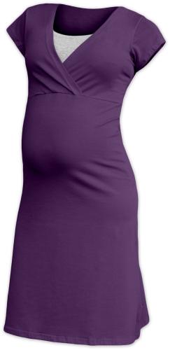 Kojící noční košile Eva, krátký rukáv, švestkově fialová
